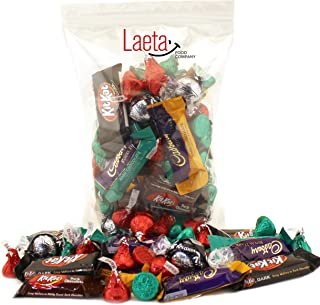 LaetaFood Pack, Dark Candy Chocolate Lover's Bar - Kisses Red, Kisses Green, Cadbury Caramel Bar, Cadbury Mint Bar, Lindt Lindor 60% Extra-Dark Chocolate Truffles and More (3 Pounds Bag)