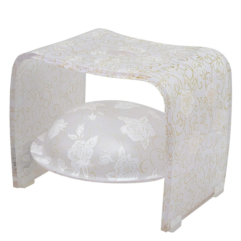 アクリルバスグッズセット Alba Rosa(アルバ ロサ) ホワイトラメローズ バスボウル収納可能 バスグッズ バスグッズセット 洗面器 バス用品 花柄雑貨 バラ柄