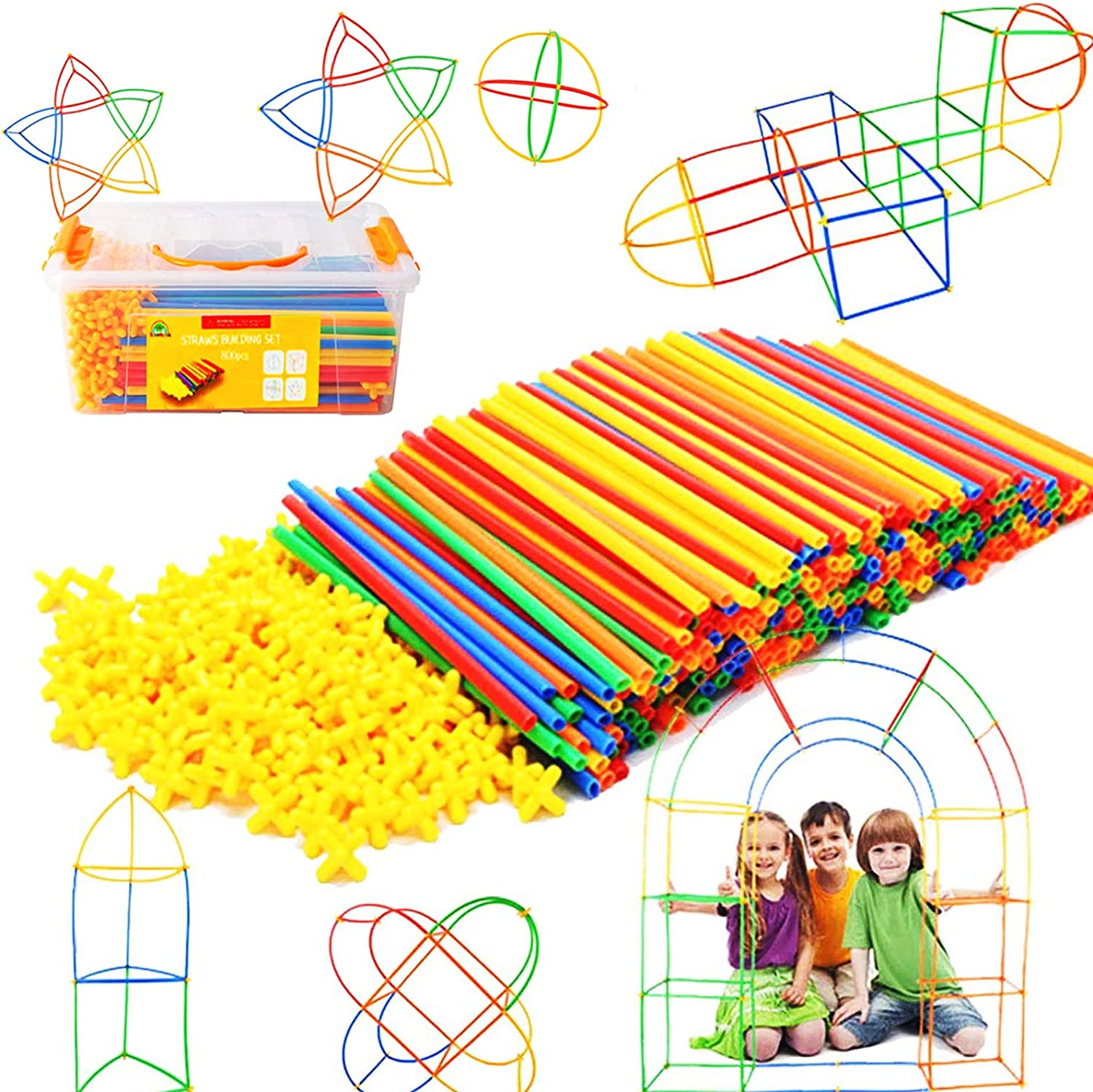 Selling Straw Constructor STEM Building Toys 800 Year-end annual account pcs-Colorful Interlocki
