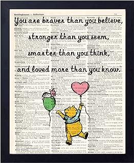 akeke Motivational Inspirational Classic Winnie The Pooh Quote Vintage Book Art Prints - Best Friend Birthday Gift 8x10 Unframed Art Poster - Great Child/Boy/Girl/Nursery Room Decor (stronger1)