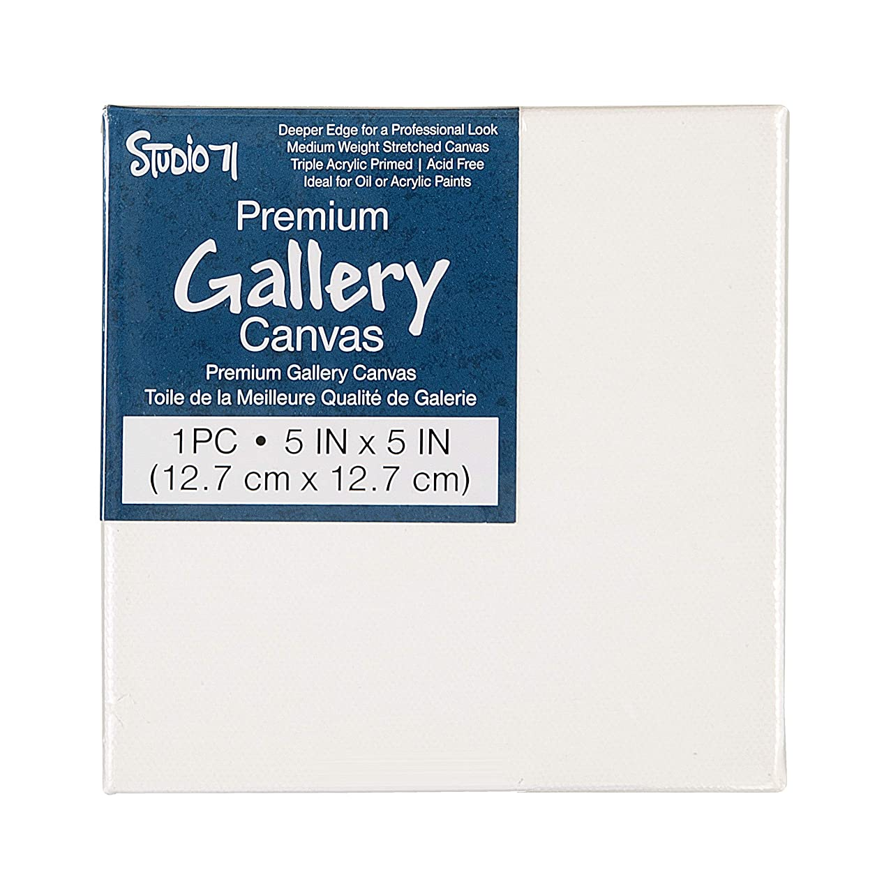 Darice 30063763 Studio 71 Stretched Gallery, 5 x 5 inches Canvas, White