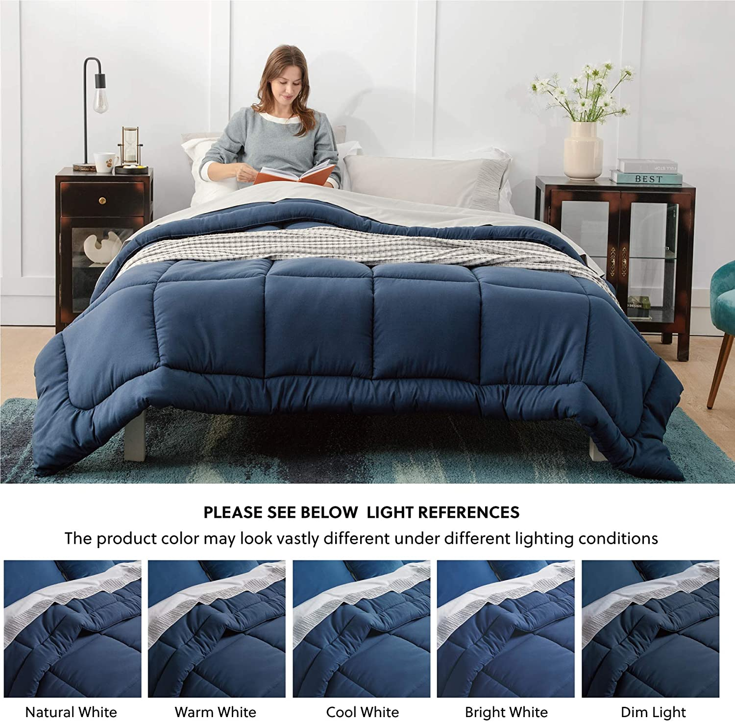 Bedsure Navy Blue Comforter King Size Duvet Insert Quilted Bedding Comforters for King Bed with Corner Tabs