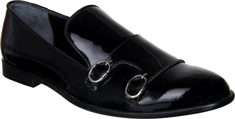 Lozano Black Patent Monk Strap Slip ons Casual shoes Black