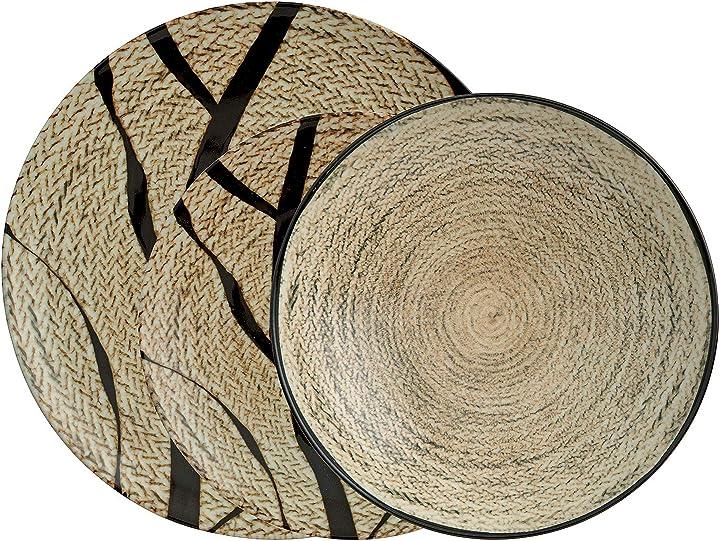 Servizio piatti in porcellana 12 pezzi arthur krupp 67350-a2 tribal mood
