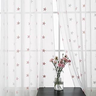 Merveilleux Deconovo Lot De 2 Rideau Salon Voilage Pour Chambre Enfant Fille Broderie  Etoile Rose à Oeillets