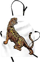Lunarable Tattoo Apron, Drawing of Tiger Roaring Jungle Creature Safari Predator Illustration, Unisex Kitchen Bib Apron with Adjustable Neck for Cooking Baking Gardening, Orange Black