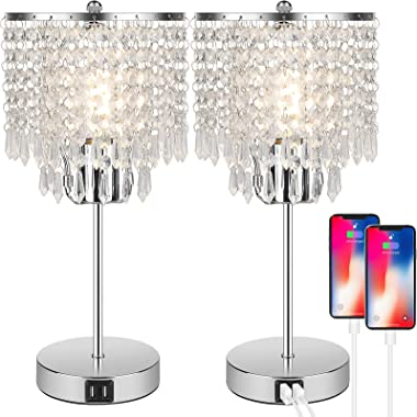 Set of 2 Crystal Touch Control Table Lamp, 3-Way Dimmable Bedside Lamps with Dual USB Charging Ports, K9 Crystal Shade Silver