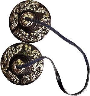 Tingsha Cymbals Tibetan Buddhist Lucky Symbol Embossed Meditation Yoga Bell Chimes (Small, Black (Auspicious Symbol))