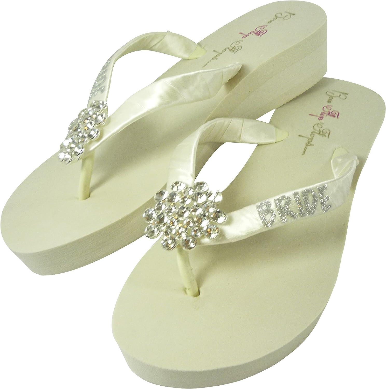 Ivory 2 inch Bride Glitter Large Jewel Rhinestone Flip Flops