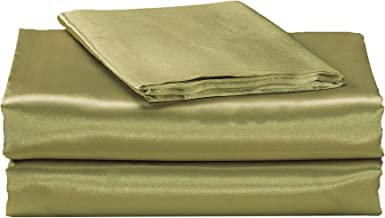 EliteHomeProducts EHP Super Soft and Silky Satin Sheet Set (Solid/Deep Pocket) (Full, Sage)