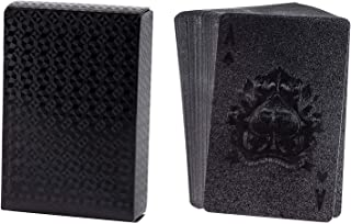 Juvale Waterproof Playing Cards - 2 Standard Decks, Black Plastic Poker Cards, Luxury Card Game with Gift Box
