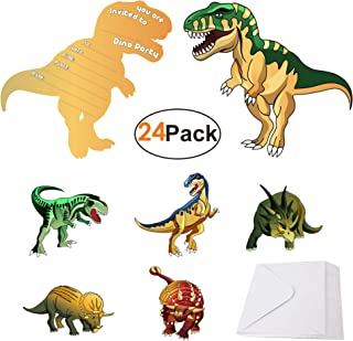 Dinosaur-Party-Supplies-Invitations with Envelopes for Kids Boys Girls Birthday 24 Pack, Dino Invites Cards for Dinosaur ThemeParty