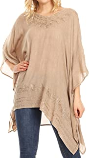 Regina Women's Lightweight Stonewashed Poncho Top Blouse Caftan Cover up