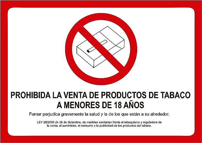 Oedim Cartel Prohibida La Venta De Tabaco A Menores De Edad 29x21cm Para Establecimientos Prohibido Fumar Ley Reguladora Fabricado En Vinilo Adhesivo Para Establecimientos Amazon Es Hogar