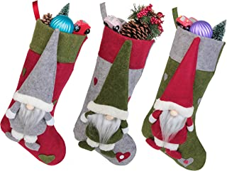 Jusdreen Christmas Stockings 3 Pieces Set 18 inches Cute Christmas Gnome Fireplace Stockings Plush 3D Applique