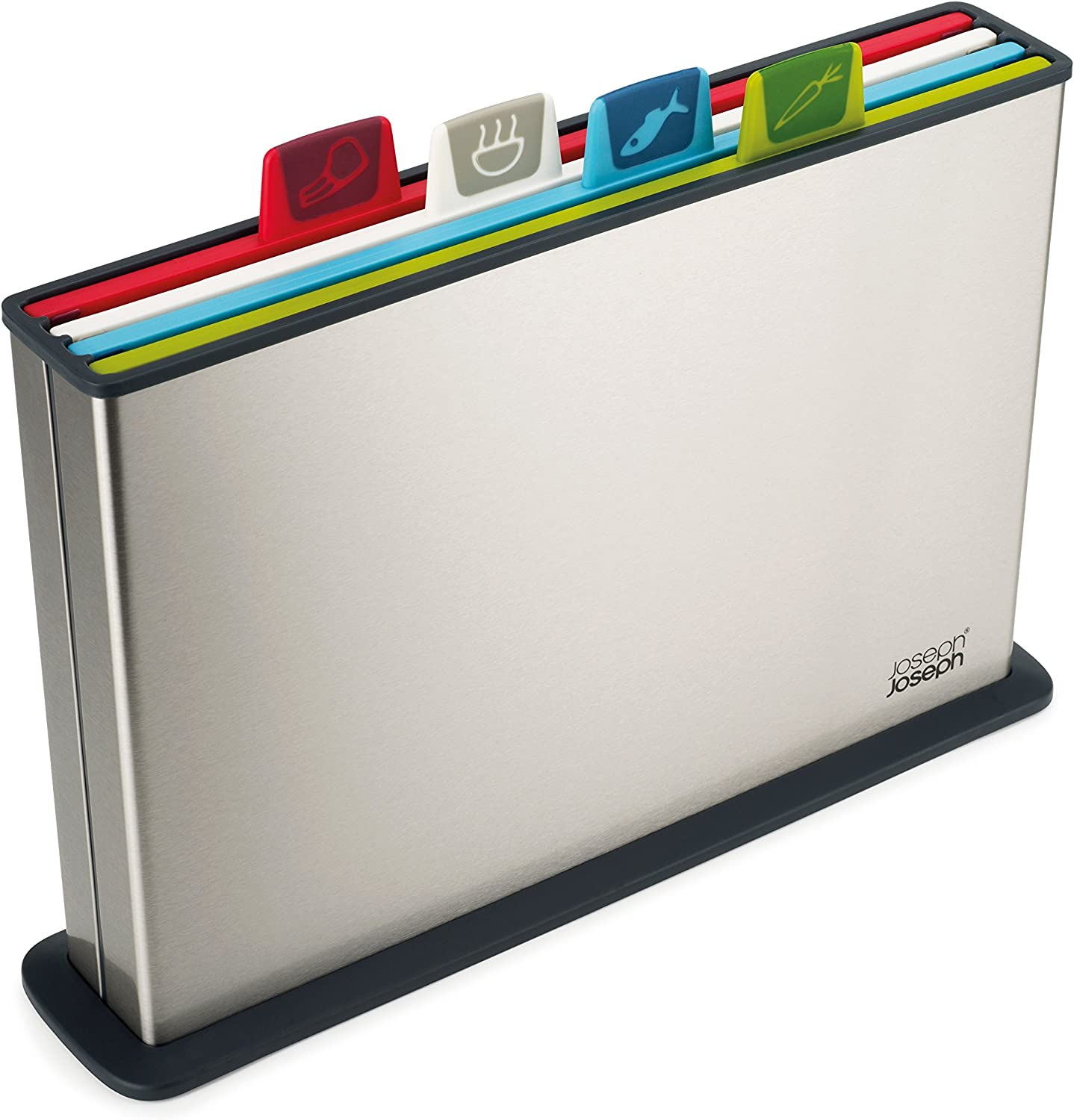 Joseph Joseph 60095 Index Plastic Cutting Board Set with Stainless Steel Storage Case color-Coded Dishwasher-Safe Non-Slip, Large, Steel Multicolord