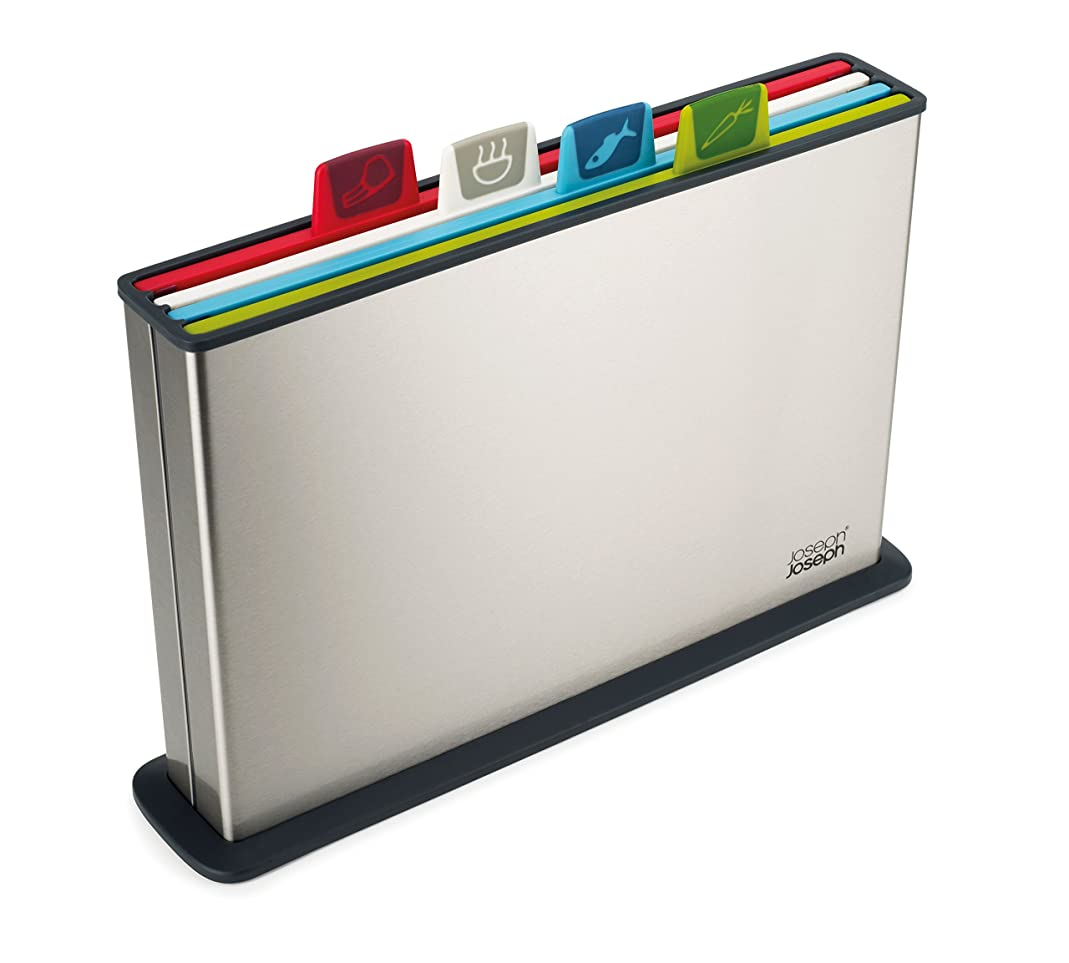 Joseph Joseph 60095 Index Plastic Cutting Board Set with Stainless Steel Storage Case Color-Coded Dishwasher-Safe Non-Slip, Large, Steel Multicolored xlyy46357