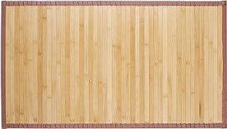 Relaxdays, 80x45 cm, Marrón Alfombra de bambú, Impermeable, Antideslizante, Borde Textil