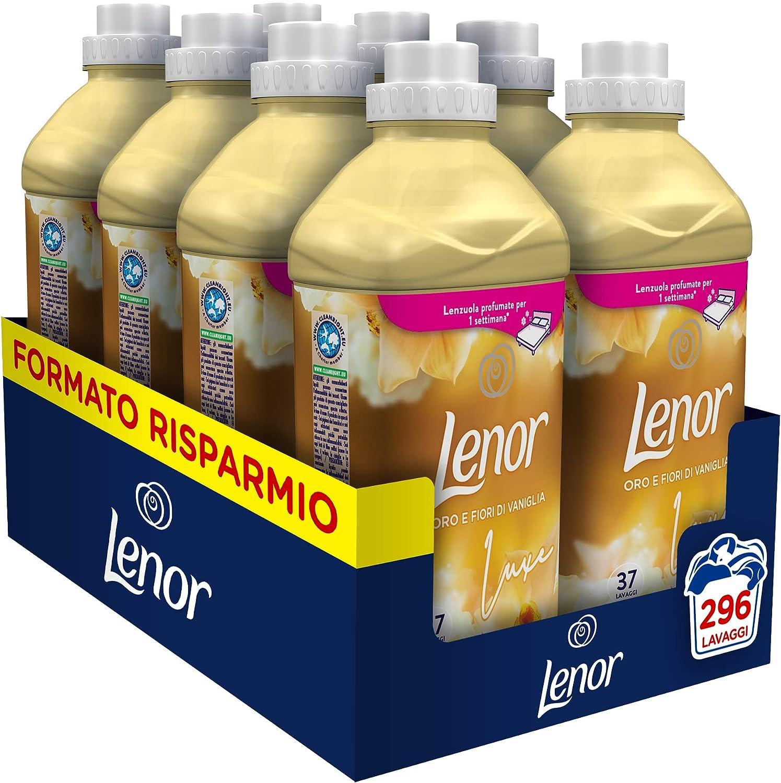 Lenor Il Lusso di Oro y Flores de vainilla Suavizante 37 lavados 925 ml para una frescura y una suavidad duraderas