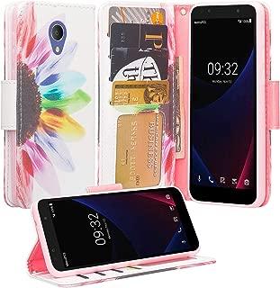 Coverlab Phone Cases for Alcatel Verso / Alcatel Tetra / Alcatel Raven LTE A574BL / Alcatel U50 5044S/ idealXCITE / CameoX 5044R Case [Kickstand] Leather Wallet Case Protective Pouch - Sun Flower