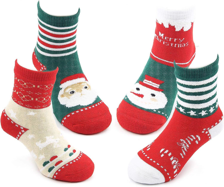 Boys Girls Christmas Socks Kids Warm Socks Winter Thermal Cotton Crew Socks 3 Pack