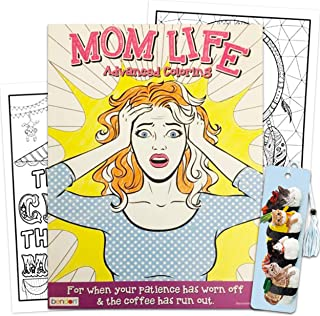 Funny Advanced Coloring Book for Women Moms Adults Teens Kids ~ 64 Page Funny Coloring Book with Funny Cat Bookmark
