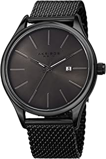 Black and Gunmetal Designer Men's Watch - Classic and Casual Round Stainless Steel Mesh Fashion Bracelet Wristwatch - AK959