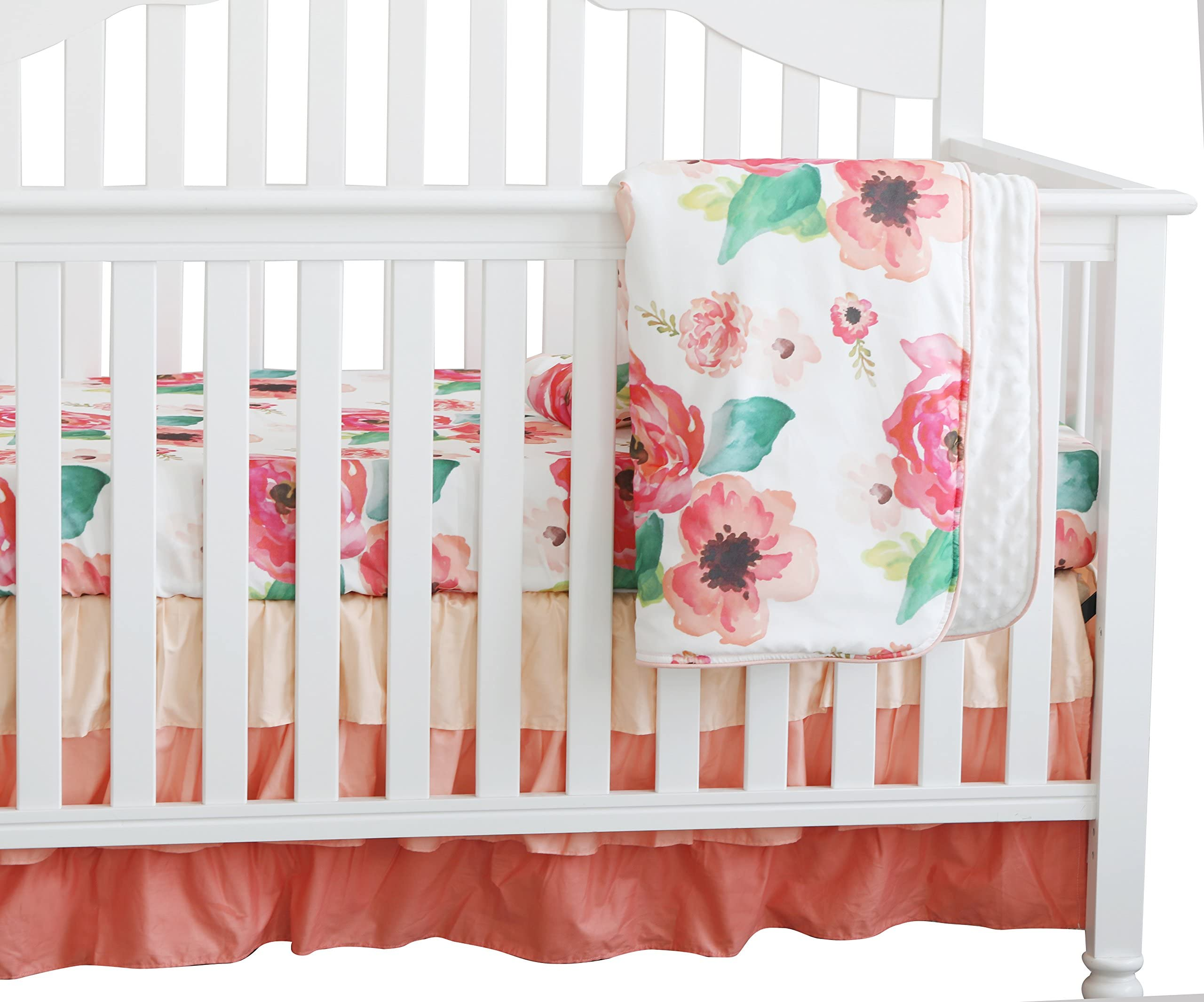 White Pink /& Black Crib Bedding Floral Baby Girl Crib Quilt Snowy Rose Ruffle Baby Blanket