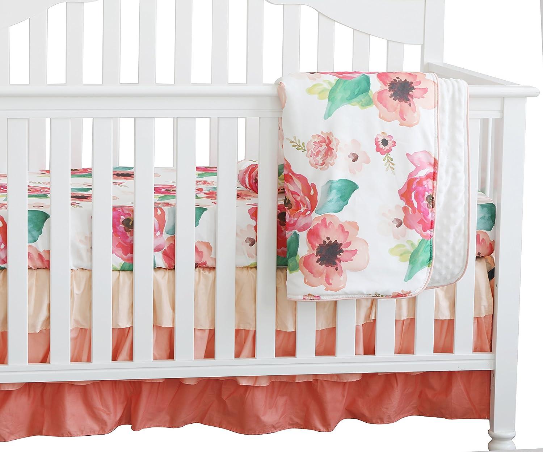 3 pcs Set Boho Floral Ruffle Nu Baby online shopping Rapid rise Peach Minky Blanket