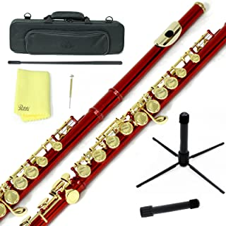 Sky Wine Red Lacquer Gold Keys Closed Hole C Flute with 1 Year Manufacturer Warranty, Guarantee Top Quality Sound with Lightweight Case, Cleaning Rod, Cloth, Joint Grease and Screw Driver