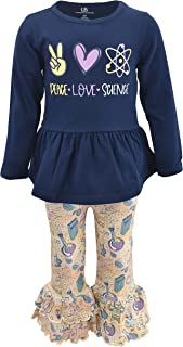 Unique Baby Girls Peace Love Science Back to School Outfit