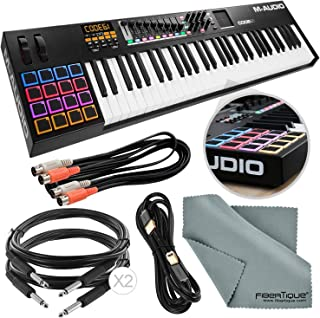M-Audio Code 61 61-Key USB/MIDI Keyboard Controller with X/Y TouchPad (Black) Assorted Cables Bundle