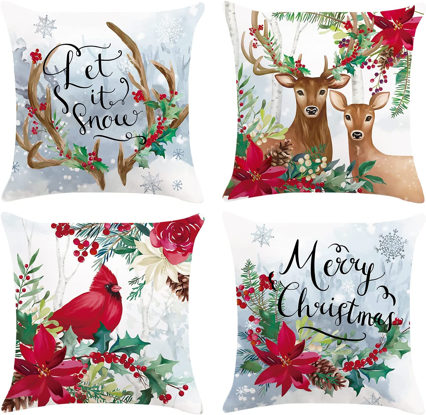 Bonhause Christmas Deer Throw Pillow Covers 18 x 18 Inch Set of 4 Cardinal Poinsettia Floral Decorative Pillow Case Soft Velvet Winter Holiday Cushion Cover for Sofa Couch Bed Christmas Home Decor