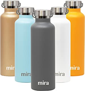 MIRA Alpine Stainless Steel Vacuum Insulated Water Bottle with 2 Lids, Durable Powder Coated Thermos | 25 oz (750 ml) | Gray
