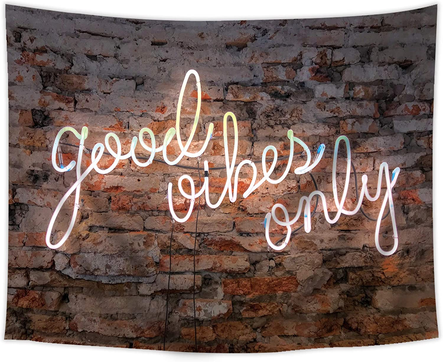 SVBright Neon Light Quote Good Vibes Only Tapestry 51Hx59W Inch Motivational Phrase on Decorative Brick Wall Red White Hanging Bedroom Living Room Dorm Decor Fabric