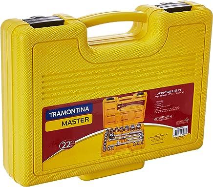 Tramontina 43600022, Maleta Soquetes Estriados e Acessórios Encaixe 1/2, 22 Peças, Amarelo