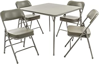 XL Series Folding Card Table and Chair Set (5pc) - Ultra-Padded Chairs for All-Day Comfort - Fold Away Design, Quick Storage and Portability - Vinyl Upholstery - Premium Quality (Grey)