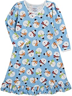 Image of Blue Snowmen Nightgown for Girls and Toddlers - See More Christmas Prints