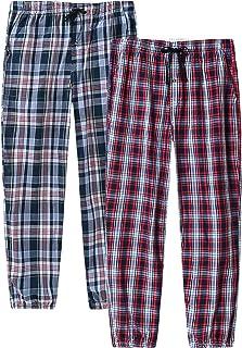 JINSHI Men's Cotton Pyjama Bottoms Check Plaid Lounge Pants Trousers Nightwear