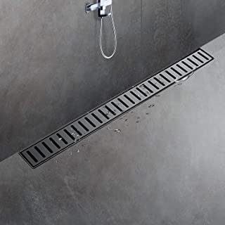SaniteModar Linear Shower Drain 24 inch Black with Removable Grate,Brushed 304 Stainless Steel Shower Drain include Hair Strainer,Adjustable Leveling Feet