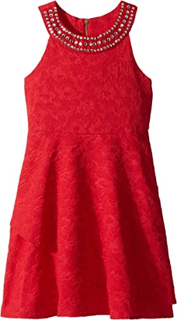 Sleeveless Text'd Knit Skater Dress (Big Kids)