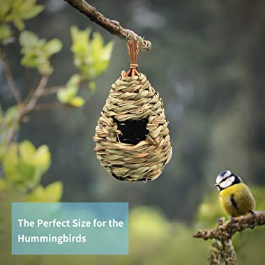 Gute Humming Bird Houses for Outside Hanging, Natural Grass Hanging Bird Hut, Hand Woven Hummingbird Nest, Large Wren Finch B