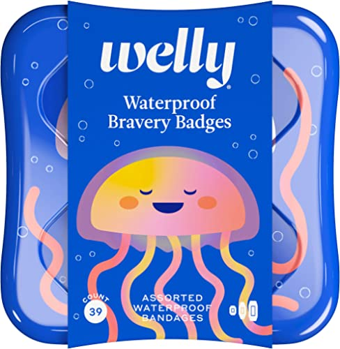 Welly Bandages - Waterproof Bravery Badges, Flexible Fabric, Adhesive, Standard Shapes, Jellyfish Patterns - 39 Count