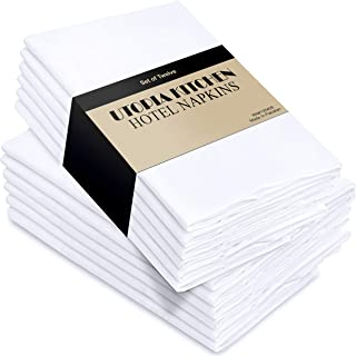 Utopia Kitchen Cloth Napkins, 12 Pack (18 x 18 Inches), White Dinner Napkins