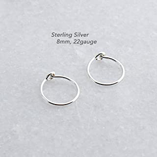 Extra Small and Thin Sterling Silver Hoop Earrings Handmade for Small and thin Earlobes Shiny Finish