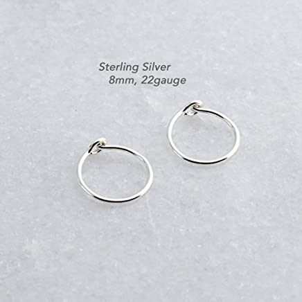 ba28b95e9 Extra Small and Thin Sterling Silver Hoop Earrings, Cartilage Silver Tragus  Tiny Hoops, Handmade