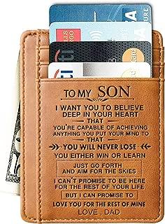 Engraved Leather Card Holder Front Pocket Wallet Gift for Son Husband Grandson Minimalist Slim Wallet RFID