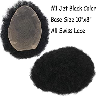 Rossy&Nancy Natural Afro Tight Curly Men's Toupee #1 Jet Black All Lace Replacement Hairpiece 130% Medium Density 10x8inch