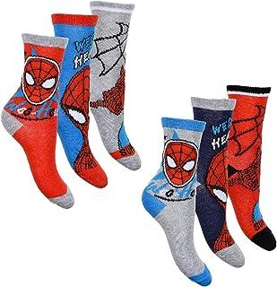 Spiderman, Pack de 6 calcetines para niño con muchos diseños y diseños diferentes.