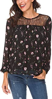 ACONIYA Womens Long Sleeve Solid/Floral Print Lace Patchwork Blouses Pleated Chiffon Casual Shirt Elegant Bow Tie Tunic Tops